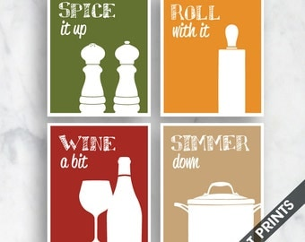 Funny Kitchen Art Print Set (Salt Pepper, Rolling Pin, Wine, Simmer Pot) Set of 4 - Art Prints (Featured in Tuscany Style Colors)