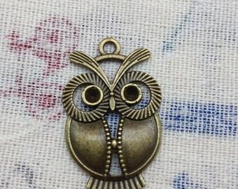 SALE 20 PCS 22x33mm Antique Bronze Lovely The little owl Charm Pendant owl Antique Bronze