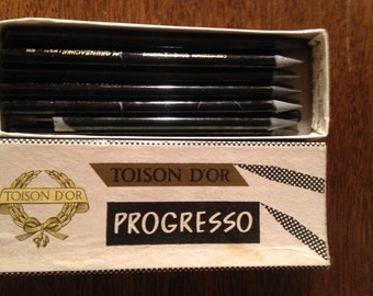 box of vintage woodless pencils , grumbacher , 70s