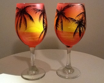 Sunset with palm trees wine glass, 13.95 each glass, hand pained, special technique unique ombré inspired sunset glass, Permanent vacation