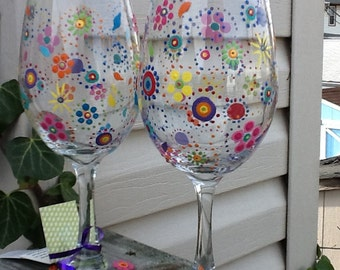 Hippie boho wineglass...each glass 13.95..handpainted colorful designs  glass..... Individual listing