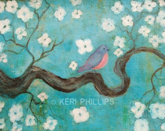 Bird on a Branch Art Print, Bird Art, Tree Art, Zen Tree, Branch, White Flowers, Wall Art, Home Decor, Blue, White, Floral, Bird, Tree, Art