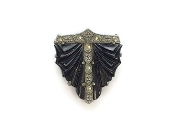 Vintage Art Deco Style Dress Clip, Marcasite and Carved Black Bakelite Type Resin Dress Clip, Costume Jewelry 1930s 1940s