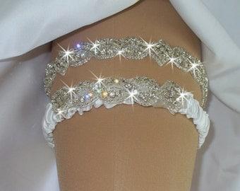 Wedding Garter Set, Bridal Garter, Diamond Garter Belt, Weddings, Rhinestone Garter, Wedding Garder, Crystal Garter Set, with Toss Garter