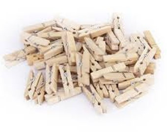 Mini Wooden Pegs - Pack of 50 plain / natural mini wood pegs