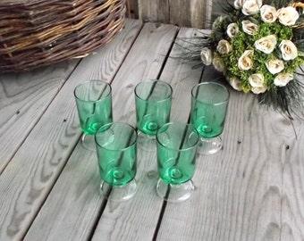 Light Green Glasses - Set of 5 - Luminarc Cavalier - Wine Stemmed Glasses - Light Green Glass - French Vintage Glassware - 1970s