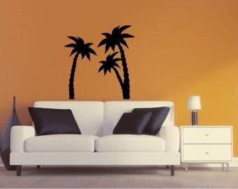Palm Tree Wall Decal - Palm Tree Silhouette Vinyl Wall Sticker Palm Tree 9