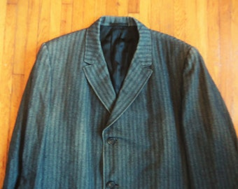 Vintage 50s Orliks Cincinnati Gray Herringbone Striped Overcoat 42-44