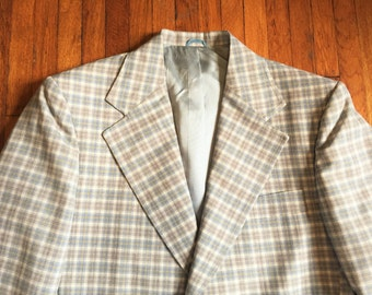 Vintage 70s JCPenney Blue Gray Plaid Blazer 40