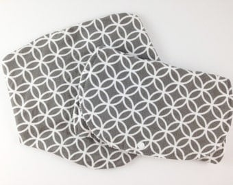 Gray Bibs and Burp Cloth Set - Bibs and Burp Cloths - Burp Cloth and Bib Set - Baby Boy Gift Set - Matching Bib and Burp Cloth