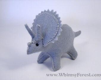 Miniature Light Grey Felt toy Triceratops (dinosaur)