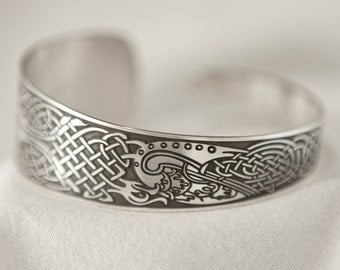 Celtic Art Cuff Etched in Sterling Silver from the Book of Kells, Handmade in Scotland.