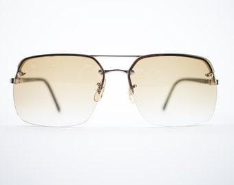 Vintage Sunglasses | Gold Aviator Sunglasses | Amber Lenses | 1970s Sunglasses | Vintage Deadstock - Vail Gold