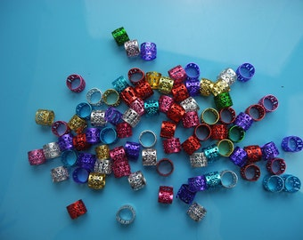 50 Mix Color colorful Dreadlock Beads Filigree Adjustable Hair Braid Cuff Clip 8mm Hole