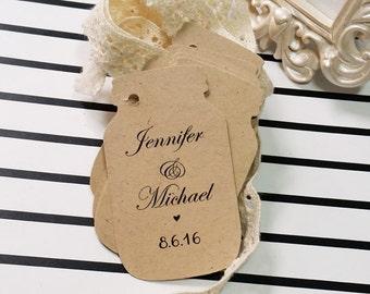 Wedding Custom Tags, Rustic Mason Jar Tags, Personalized Wedding Tags, Kraft Mason Jar Tags, Small Jar Tags for Favors, 24 pcs