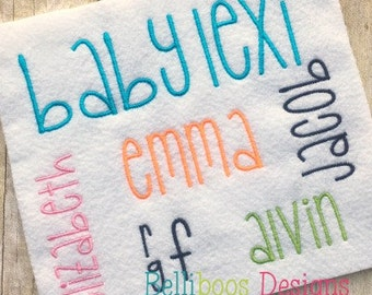 Baby Lexi Embroidery Font - Embroidery Font - Block Embroidery Font - Embroidery Alphabet - Monogram Embroidery Font
