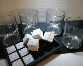 Stone Ice Cubes and Tray Set/Granite Ice Cube Set/ Whiskey Stones with Tray