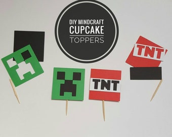 Mindcraft DIY Cupcake Toppers! 12 or 24 DIY Toppers! Birthday Party!