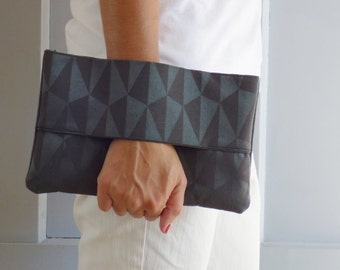 Wrist wallet charcoal gray, evening clutch, grey fabric, evening purse, handbag, gift for her, pouch bag, unique, present, mylmelo