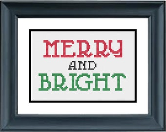 Merry and Bright - Christmas Cross Stitch Pattern - PDF Cross-Stitch Pattern