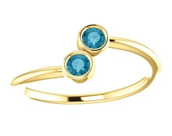 London Blue Topaz 14K Gold, Stacking Ring, Dual Stone, 14K Yellow or White Gold