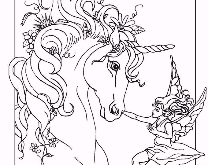 COLORING BOOK of five PAGES, fantasy, unicorns, fairy horse, unicorn foal, fairy, original art,
