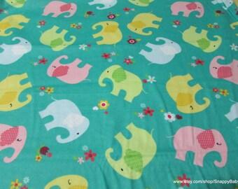 Flannel Fabric - Cute Elephants - 1 yard - 100% Cotton Flannel