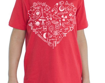 Love Science Youth T-Shirt | Mathematics, Physics, Biology, Heart, Chemistry, Kids Science Tee Shirt, Scientist, STEM, Smart Kid, nerd