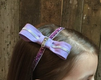 Zipper Bow Headband - purple