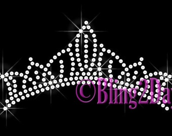 Tiara Crown - CLEAR Royalty - Iron on Rhinestone Transfer Bling Beauty Pageant Hot Fix - DIY