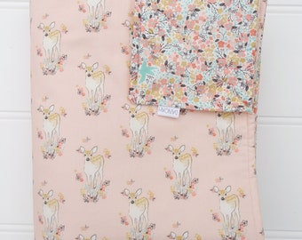 Cot quilt / blanket with pink baby deer and floral , fully reversible