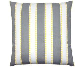 Pillowcase LULU grey white stripes 50 x 50 cm yellow