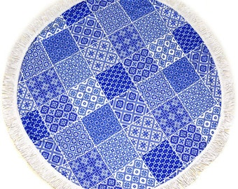 Sale!!!Blue Round Towel- Beach Towel, Yoga Mat, tablecloth,Throw,Blanket
