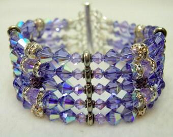 Tanzanite and Violet Crystal 5 Strand Bracelet
