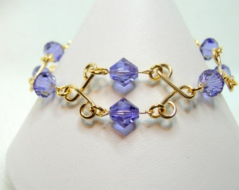 Tanzanite & Gold Filled Crystal Bracelet