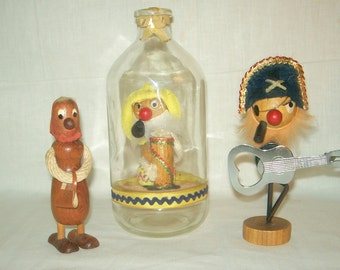 3 Vintage Novelty Wooden Gonks 2 Bottle Openers 1 Nodding Gonk in Bottle