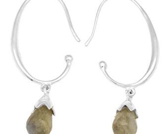 Labradorite Gemstone Earrings Solid 925 Sterling Silver Jewelry IE21095