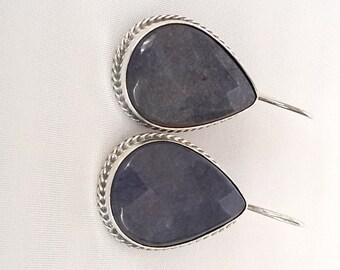 Sterling Sİlver Earrings ,Silver Earrings ,Lapis Earrings