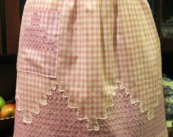 Vintage 1940-50's Hostess Half Purple Gingham Embroidered Apron- Textiles, Aprons, Kitchen Wear, Farm House