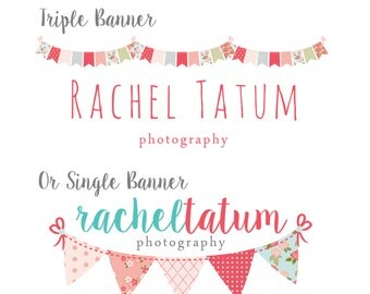 "Premade Photography Logo and Watermark ""Bunting Banner"" - Pick Your Design"