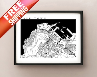 Cape Town Map Art Print - Black and White Decor