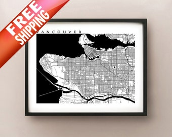 Vancouver Map Art Poster Print - Black and White - British Columbia Wall Art - BC, Canada