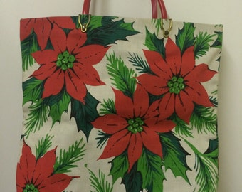 Vintage 60s Flower Print Shopper Tote Bag Christmas