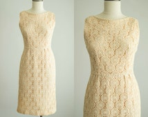 vintage 1960s dress / 60s cream lace wiggle dress / medium / Shortbread Cookie Dress
