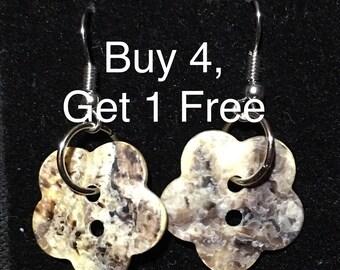 B4G1 FREE, Abalone Shell Flower Button Dangle Earrings
