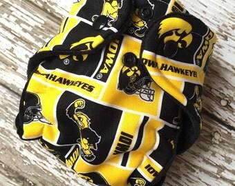 Iowa Hawkeye newborn hybrid fitted cloth diaper