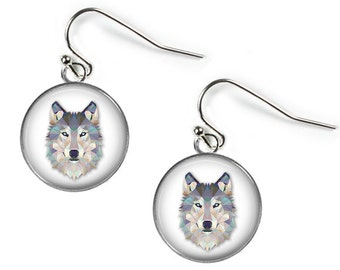 WOLF - Glass Picture Earrings - Silver Plated (Art Print Photo S5)