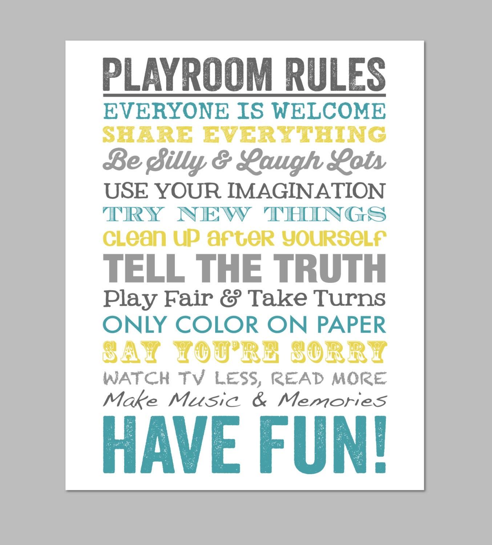 Playroom Rules Wall Art Printable Play Room Decor Print