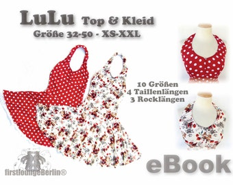 LuLu Top & Dress instant download PDF eBook - sewing patterns in 10 sizes 32-50, US sizes xs-xl - handmade with LOVE by first lounge berlin