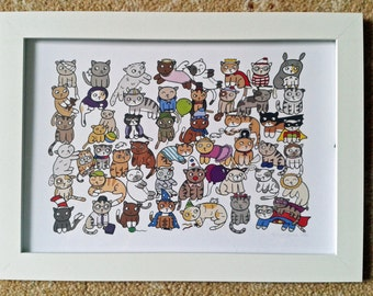 Cute Cat Print - Mother's Day Gift - Cats Illustration - Cat picture - Quirky cat gift -  Cat drawing - Cats!